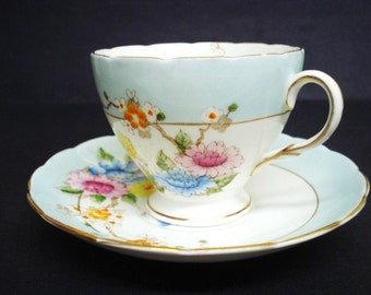 Timeless  BEAUTY FOLEY SET - Fine China Cup and Saucer - Hand Painted - Pedestal Cup - Gold Accents - Made in England