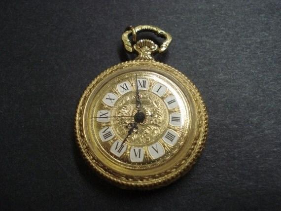 Lovely Vintage Swiss Pendant Watch    Gold Tone    Roman Numerals    Mondaine    Swiss