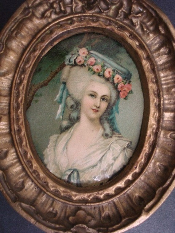 Precious Antique Miniature Picture Beautiful Lady Gold Frame Historic Figure