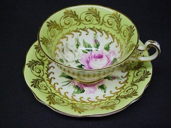 Superb  Beauty and Quality CUP and  SAUCER SET by Foley Made in England Gold Accents Roses