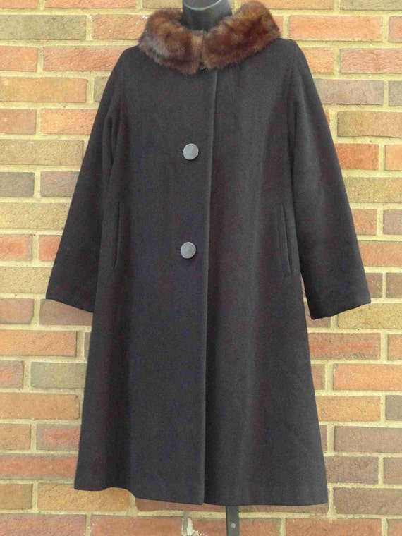 1950s/60 CASHMERE and Mink Collar Swing Coat XL