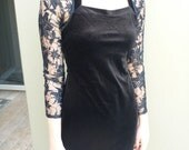 1980s Inspired Black Velvet with Lace Sleeves Party Dress