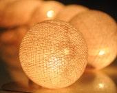 20 x Cream color cotton ball Bali lantern string light patio indoor  decoration deco room bedroom wedding patio party Beach balcony