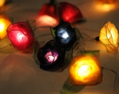 Mix beautiful color Roses flower string light strand porch indoor hanging lantern light decor handmade