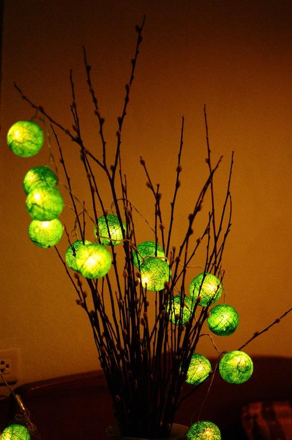 Green Lantern String Lights : 20xromantic handmade Green color cotton ball by cottonlight