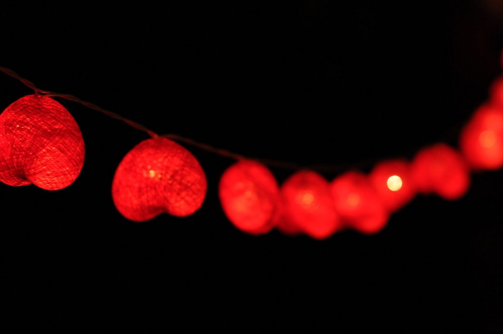 Love romantic heart shape string light red color by cottonlight