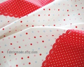 Linen Fabric- Colorful Polka Dots on White Red Pink Blue Brown Background white lace patchwork- Fabric by yard 1/2 yard