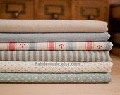 Bundle Fabric Ocean Fabric Bundle Blue Stripe Dots Solid  Sea Anchor Ocean Style Linen Bundle- sets for 6