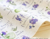 "Purple Flower Fabric Hand Printed Linen Cotton Fabric Violet Flower Collection Panel 8""x 12"" (20cm X 30cm)"