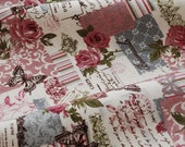 Vintage Fabric, French Country Fabric,  Linen Cotton Fabric, Vintage Rose Butterfly Stamp Letters - 1/2 Yard