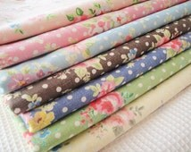 Rose Floral Linen Fabric with Dots Shabby Chic Rose Fabric  Flower Linen Cotton Pink Blue Brown Green Linen Fabric- 1/2 yard