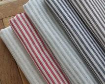"""Sale- Cotton Linen/ Stripe Fabric/ Linen/ Linen Cotton/ Linen Fabric- 1/2 yrd 5 Colors available 18""""X55"""""""