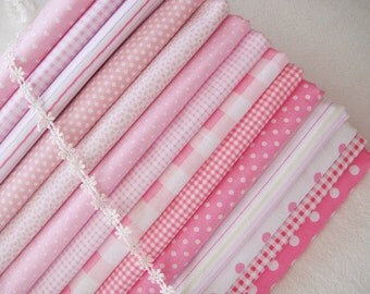 Pink Bundle Fabric Light Pink Fabric Pink Cotton Fabric Pink Dots Stripes Plaid Fabric- Sets for 14 each 40cmX60cm