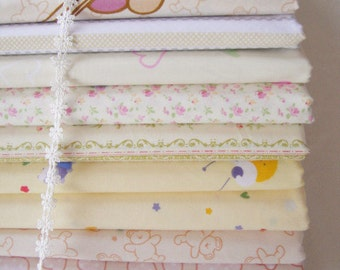 Sale- Yellow Bundle Fabric Yellow Fabric Light Yellow Spring Fabric Yellow Cotton - Sets for 11 each 40cmX60cm