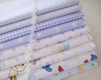 Powder Blue Fabric Bundle, Powder blue Cotton Fabric Spring Fabric Cartoon Kids Fabric - Sets for 9 each 40cmX60cm
