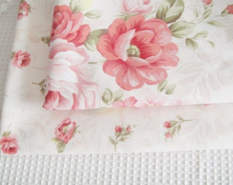 "Pink Rose Fabric, Pink Floral Fabric, Rose Cotton, Japanese Fabric, Rose Cotton Fabric- 1/2 yard 18""X63"""