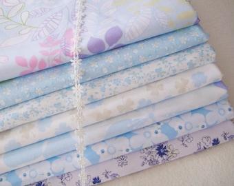 DESTASH- Blue Floral 7 fat quarters bundle for Free Spirit Blue Floral Leaves Fabric Bundle - sets for 7 each 40cmX60cm