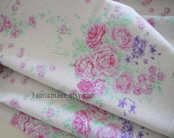 Beige Fabric with floral,  Linen Cotton Fabric with Lilac Pink floral, Curtain Fabric, Pink Rose Purple Rose Fabric by yard 1/2 yard