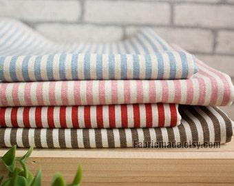 Fat Quarter Bundle Stripe Fabric Bundle Navy Stripe Linen Cotton Fabric Bundle- sets for 5
