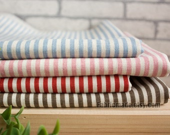 Navy Stripe Fabric, Stripe Linen Fabric, Linen Cotton Fabric, Beige, Blue, Pink, Red, Brown Stripe -1/2 yard