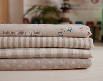 Sale- Beige Bundle Fabric Beige Fabric Beige Linen Cotton Fabric Beige Floral Plaid Stripe Dots - Sets for 4 each 33cm x 48cm