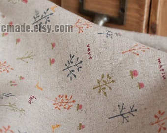 Beige Fabric, Beige Linen Cotton Fabric with Little Tree Birds Cute Curtain Bag Cushion Fabric by Yard 1/2 yard