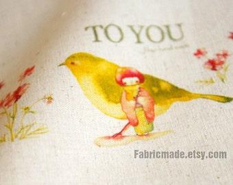"Hand Printed Linen Cotton Fabric Unique Fabric Linen Watercolor Fabric- Flower Little Girl Birds to You Panel 8""x 12"" (20cm X 30cm)"