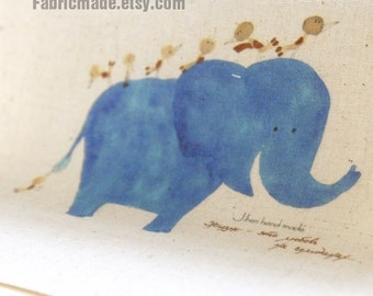 """Calf Elephant Fabric, Cute Hand Printed Fabric, Children Fabric, Fabric for Kids- Little Blue Elephant and Bugs Panel 8""""x 8"""" (20cm X 20cm)"""