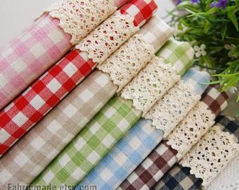 Basic Plaid Linen Fabric Bundle Plaid Bundle Fabric Linen Cotton- Fat Quarter Bundle, 7 Fat Quarters Sets