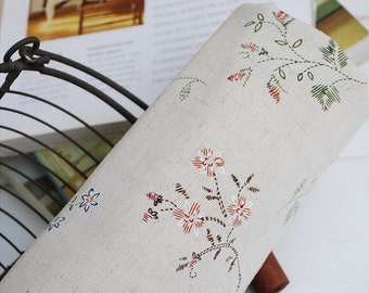 Beige Fabric Little  Floral Fabric Linen Cotton Japanese Fabric Shabby Chic Flower Printed Fabric- Fabric by Yard 1/2 yard