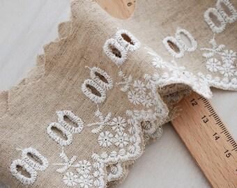 Hollowed Floral Lace Trim Cotton Linen Lace Eyelet Lace Trim Embroidered Beige Fabric White Flower Trim Lace- width 6cm