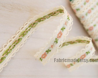 Beige Cotton Fabric Embroidered Lace Tape Ribbon Pink Green Floral Lace Fabric Tape Wave Edges -Two Yards