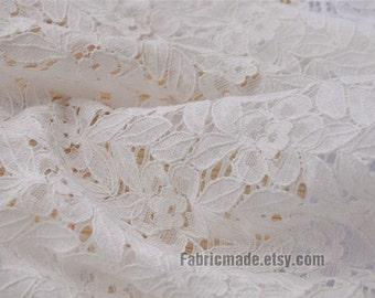 White Lace Fabric White Lace Cotton Lace Leaf Embroidery Fabric Eyelet Lace Cotton Fabric - One yard
