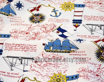 Linen Cotton Fabric Vintage Sea Anchor Sailing Boat Map Compass Helm Lighthouse Collection  - AHalf Yard