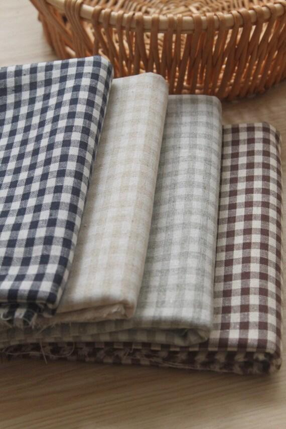 "Cotton Linen/ Beige Plaid Fabric/ Plaid Linen Cotton Fabric- 1/2 yrd 4 Colors available 18""X55"""