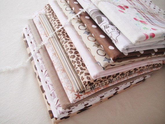 Sales- Fat Quarter Bundle/ Brown Bundle Fabric/ Brown Fabric/ Brown Cotton Fabric - Sets for 12 each 40cmX60cm