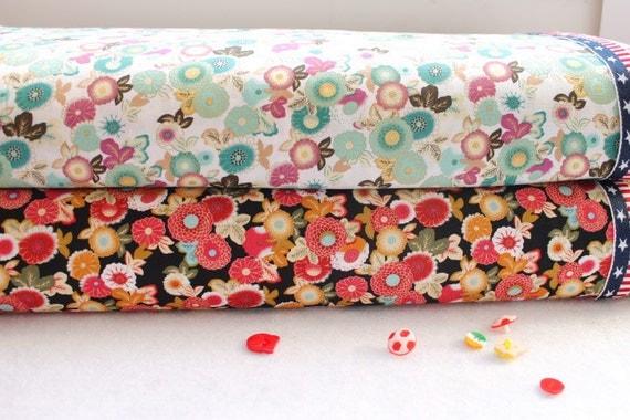 "Flower Fabric Cotton Fabric Shabby chic Flower Cotton Spring Fabric Daisy Fabric - 1/2 yard 18""X59"""
