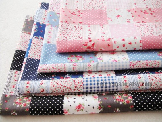 "Sale - Cotton Fabric Plaid Flora Dots Patch Cotton Baby Clothes Fabric Pink Navy Blue Black- 1/2 yard 18""X59"""