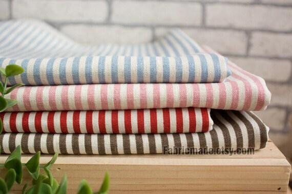 Navy Stripe Fabric, Stripe Linen Fabric, Linen Cotton Fabric, Beige, Blue, Pink, Red, Brown Stripe -1/2 yard