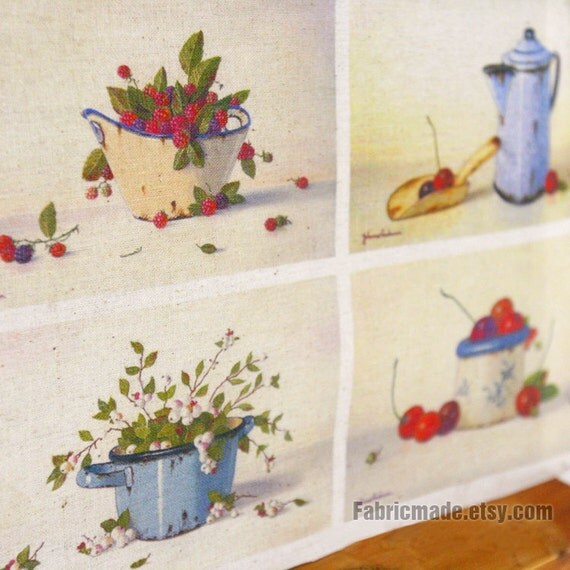 "Hand Printed Linen Cotton Fabric France Country Fabric Linen Fabric- Ancient  Paint Still Life 4 Panel 8""x 12"" (20cm X 30cm)"