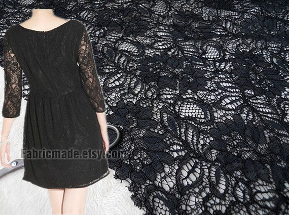 One Yard- Black Lace Fabric, Embroidered Black Fabric, Black  Lace,  Floral Lace, Apparel Fabric Lace, Hollowed Lace by Yard