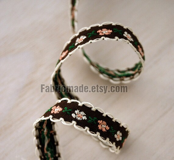 Coffee Brown Cotton Fabric Embroidered Lace Tape Ribbon Floral Lace Fabric Tape Cotton Ribbon Wave Edges -Two Yards