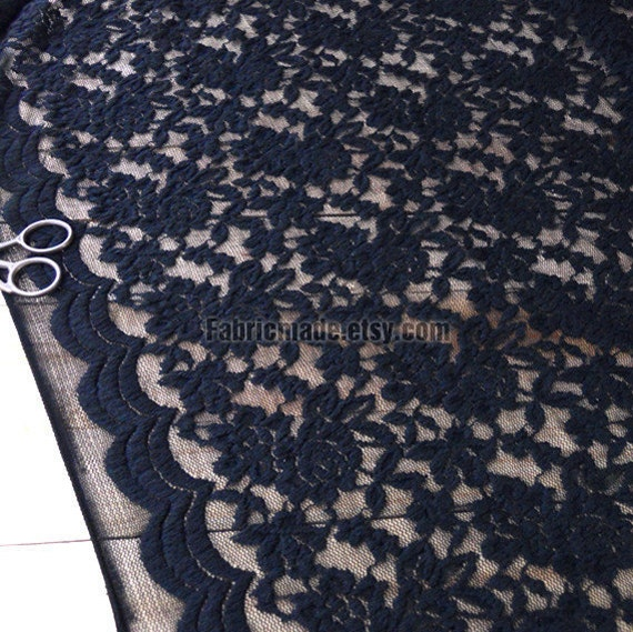 Black Lace Fabric Cloth Black Floral Cotton Lace Gauze Lace Embroidery Fabric Black Flower Fabric Lace Heavy - a half yard