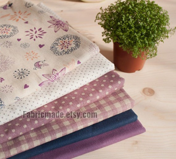 Purple Bundle Purple Linen Cotton Fabric Bundle- Purple Fabric Fat Quarter Bundle, 6 Fat Quarters Pieces
