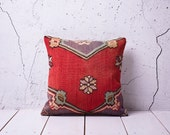 "hand woven vintage kilim pillow cover - 15.75"" x 15.75"" - free shipment with UPS - 01050-59"