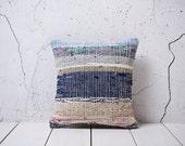 "hand woven vintage kilim - rag rug pillow cover - 14.96"" x 15.87"" - free shipment with UPS - 00962-65"