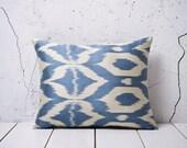16 x 19 Decorative Pillow Ikat Pillow Cover Throw Pillow Accent Pillow Silk Pillow Blue Cushion - 02140-65