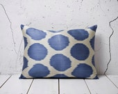 15 x 21 Decorative Pillow Ikat Pillow Cover Throw Pillow Accent Pillow Silk Pillow Blue White Cushion - 03203-67