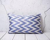 15 x 23 Decorative Pillow Ikat Pillow Cover Throw Pillow Accent Pillow Silk Pillow Blue Cushion - 02144-70-1,3