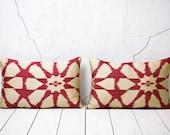 15 x 24 Decorative Pillow Throw Pillow Accent Pillow Set of 2 Handmade Ikat Pillow Cover Red Cream - 03722-124